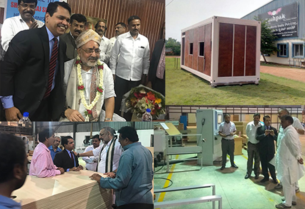 Giriraj Singh visits B'luru based Pushpak Products; hails entrepreneur for manufacturing products by substituting wood