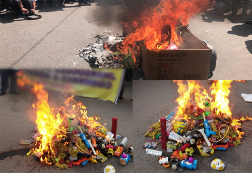 Trade associations all over the country burn Holi of Chinese goods