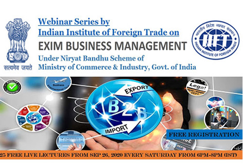 IIFT offers free EXIM business management webinars