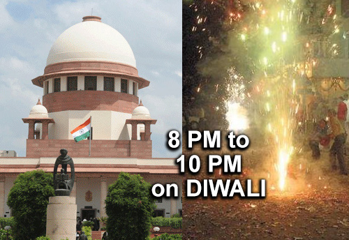 Supreme Court permits use of safer firecrackers from 8 pm to 10 pm on Diwali