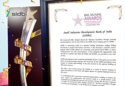 SIDBI conferred with BML Munjal Award in the Public Sector category